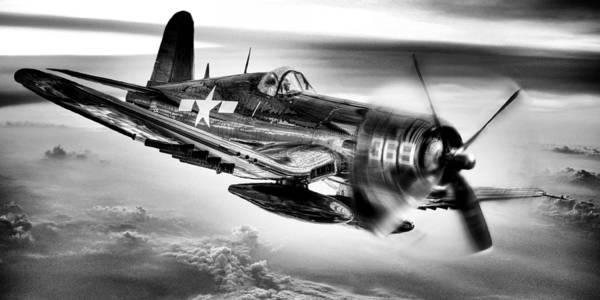 Corsair Poster featuring the photograph The Flight Home Bw by JC Findley