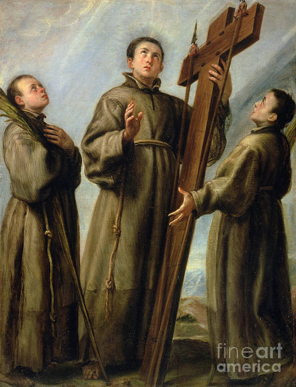 The Poster featuring the painting The Franciscan Martyrs In Japan by Don Juan Carreno de Miranda