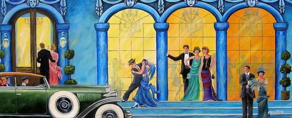 Great Gatsby Poster featuring the painting The Gala by Sharon Kearns