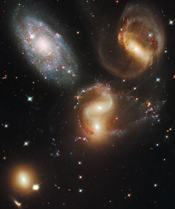 Outdoors Poster featuring the photograph The Galaxies Of Stephans Quintet by Nasa/Esa