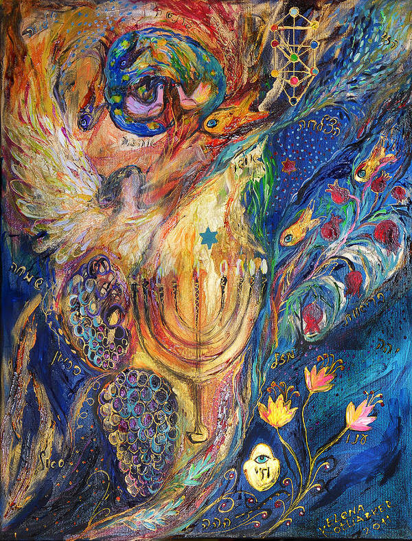 Original Poster featuring the painting The Keeper Of Menorah by Elena Kotliarker