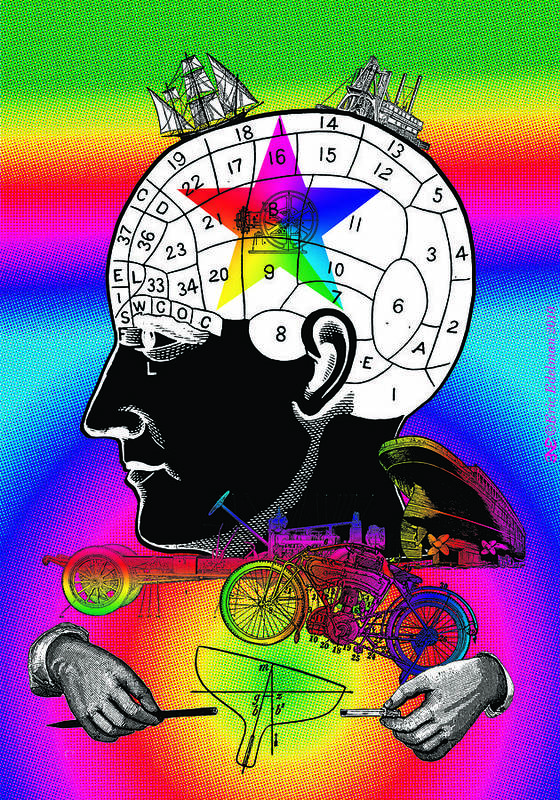 Phrenology Poster featuring the digital art The Main Idea by Eric Edelman