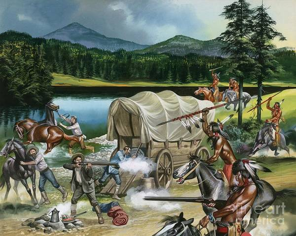 Indian; Red Man; Native American; America; Usa; Tribes; Nez Perce; Chief Joseph; Horse; Horses; Breeding; Horse Racing; Canada; Wagon Train; Covered Wagon; Rifle; Attack; Spear; Lake; Fight; Battle; Red Indians Poster featuring the painting The Nez Perce by Ron Embleton