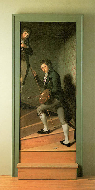 Charles Wilson Peale Poster featuring the painting The Staircase Group by Charles Wilson Peale