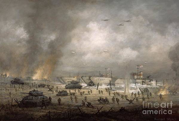 D Day Landing;troops;gangway;gangplanks; Beach; Ww2; Wwii; Second; 2nd; 2; Coastline;shore;wading;operation Overlord; Military; Attack;offensive; Allies; Planes; Tank; Tanks; Ship; Ships; Battle; Battling; Attacking; War Poster featuring the painting The Tanks Go In - Sword Beach by Richard Willis