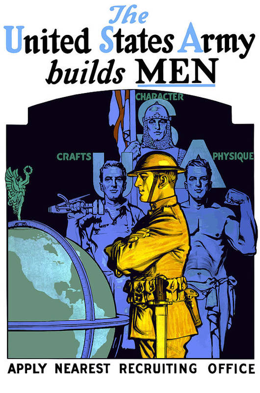 Us Army Poster featuring the painting The United States Army Builds Men by War Is Hell Store