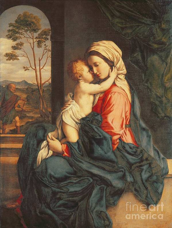 The Poster featuring the painting The Virgin And Child Embracing by Giovanni Battista Salvi
