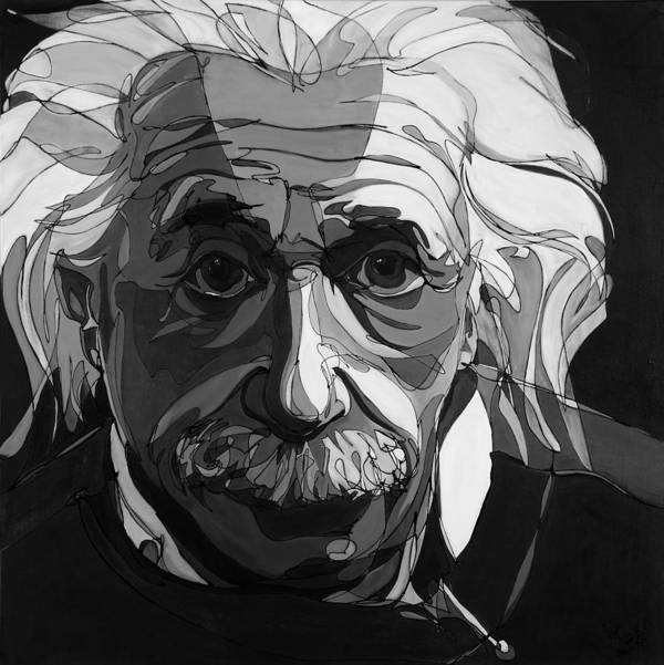 Albert Einstein Poster featuring the painting The Weight Of Genius by John Gibbs
