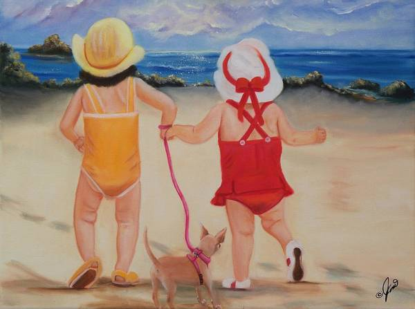 Portraits Poster featuring the painting Three For The Beach by Joni McPherson