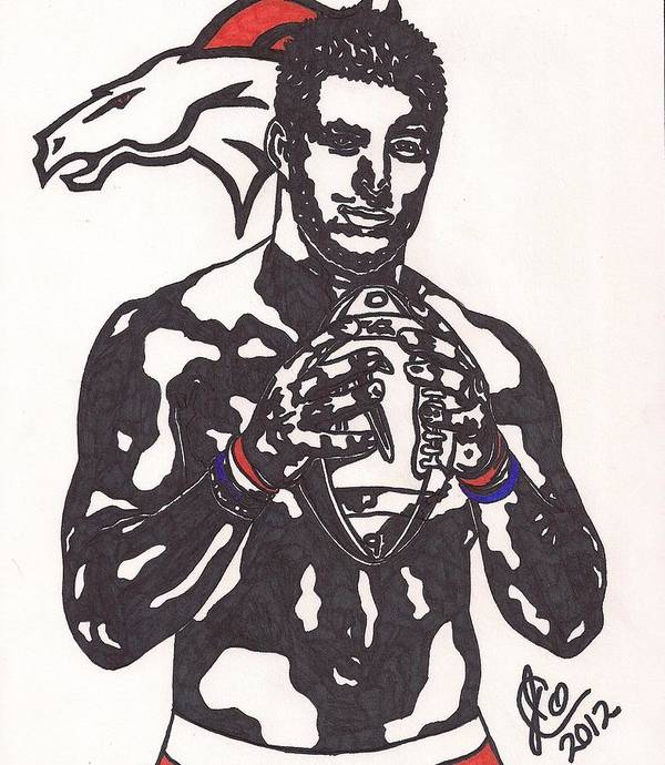 Tim Tebow Drawings Poster featuring the drawing Tim Tebow 2 by Jeremiah Colley