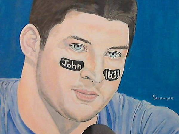 Portrait Poster featuring the painting Tim Tebow by Richard Retey