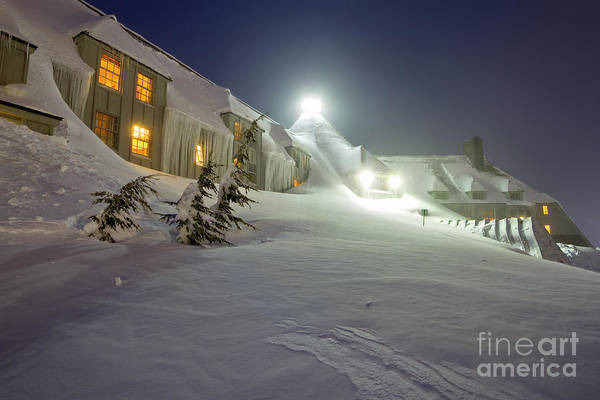 Timberline Lodge Poster featuring the photograph Timberline Lodge Mt Hood Snow Drifts At Night by Dustin K Ryan