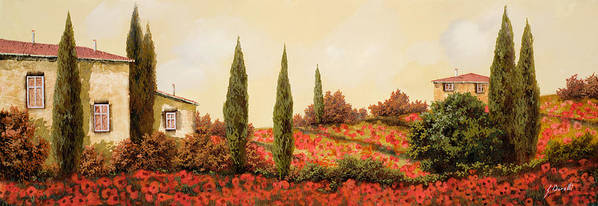 Landscape Poster featuring the painting Tre Case Tra I Papaveri by Guido Borelli