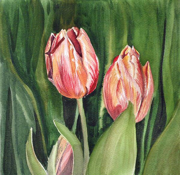 Tulip Poster featuring the painting Tulips by Irina Sztukowski