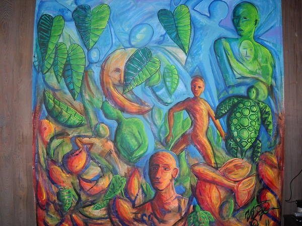 Surreal Poster featuring the painting Turtle Walk Moon by William Fien