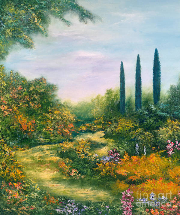 Garden Poster featuring the painting Tuscany Atmosphere by Hannibal Mane