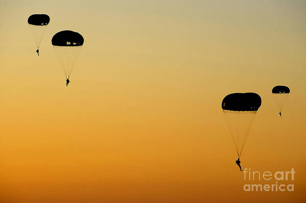 Military Poster featuring the photograph U.s. Army Rangers Parachute by Stocktrek Images