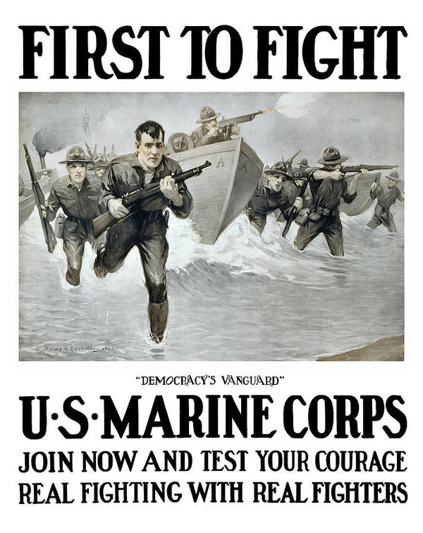 Marines Poster featuring the painting Us Marine Corps - First To Fight by War Is Hell Store