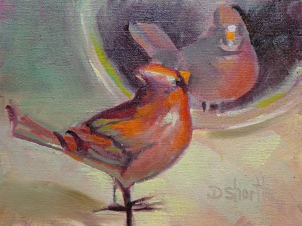 Cardinal Poster featuring the painting Vain Cardinal by Donna Shortt