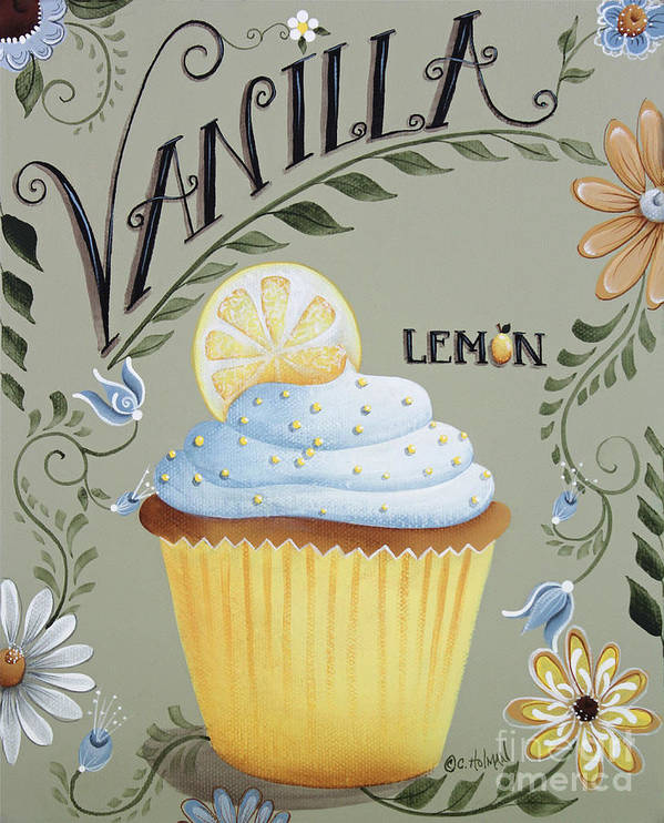 Art Poster featuring the painting Vanilla Lemon Cupcake by Catherine Holman