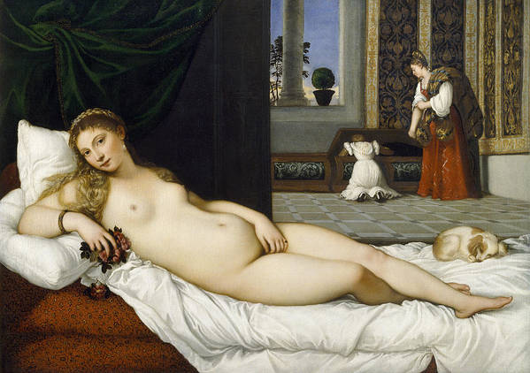 Nude; Bed Chamber; Female; Reclining; Venetian Renaissance; Goddess Of Love; Aphrodite; Interior; Maid; Chest; Cassone; Urbin Poster featuring the painting Venus Of Urbino Before 1538 by Tiziano Vecellio