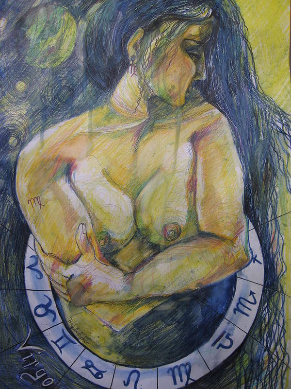 Virgo Poster featuring the drawing Virgo by Brigitte Hintner