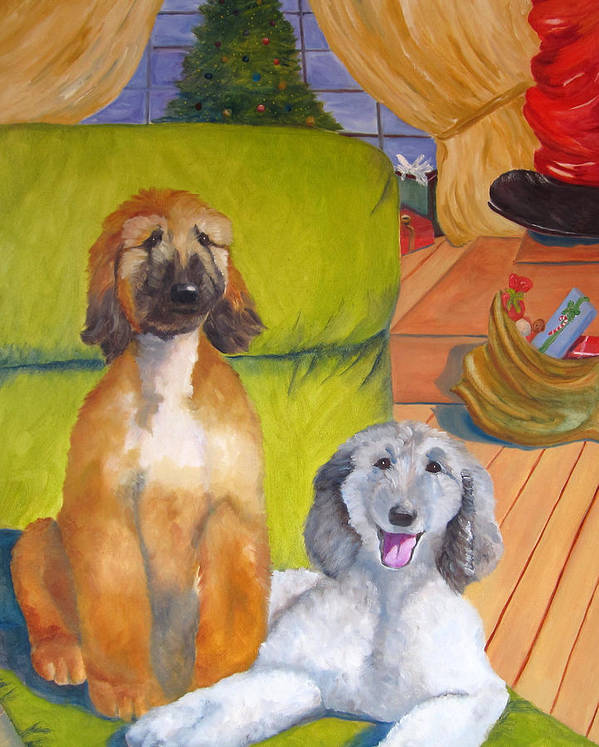 Afghan Hound Poster featuring the painting Wait I Think I Hear Santa by Terry Chacon