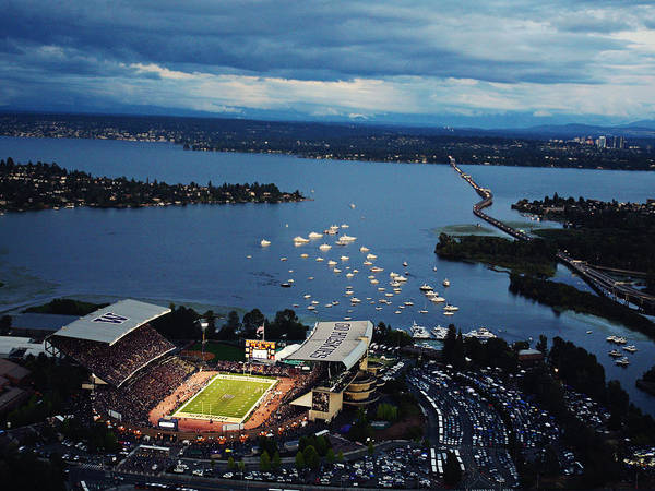 Husky Stadium Aerial Poster featuring the photograph Washington Aerial View Of Husky Stadium by Jay Drowns
