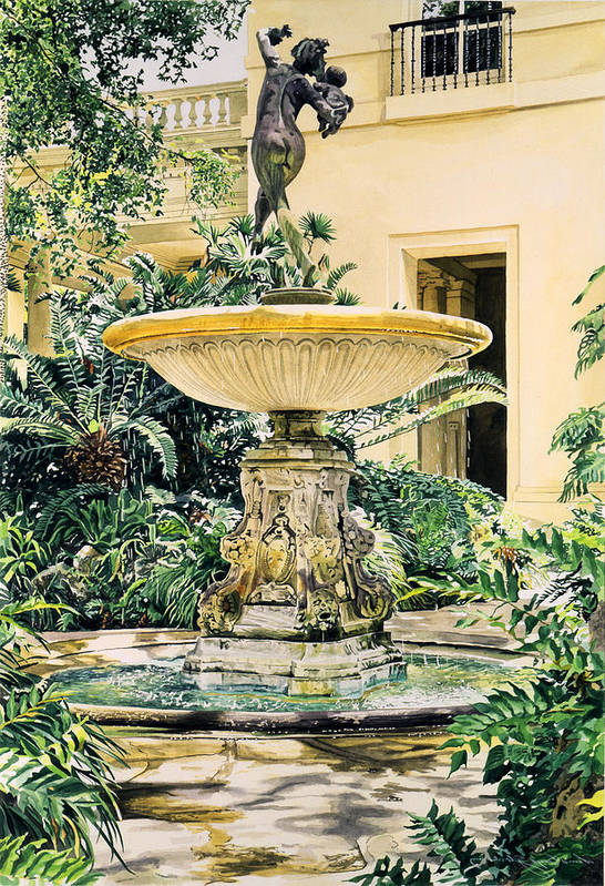 Fountains Poster featuring the painting Watersounds II by David Lloyd Glover