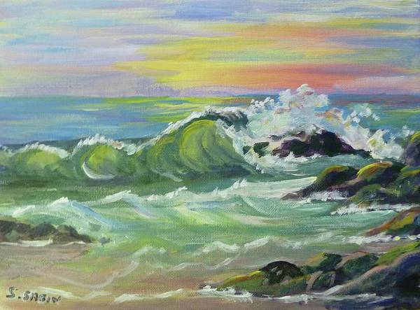 Wave Poster featuring the painting Waves by Saga Sabin