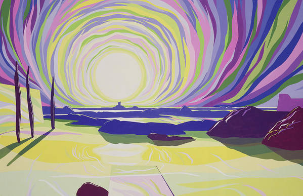 Sun; Dawn; Sea; Rocks; Beach; Seascape; Psychedelic; Mountains; Atmospheric; Colorful;; Sunrise; Mountain; Atmosphere; Rock; Whirl; Whirling Poster featuring the painting Whirling Sunrise - La Rocque by Derek Crow