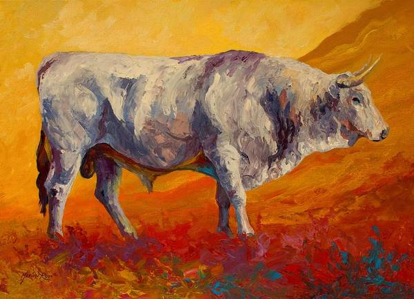 Cows Poster featuring the painting White Bull by Marion Rose