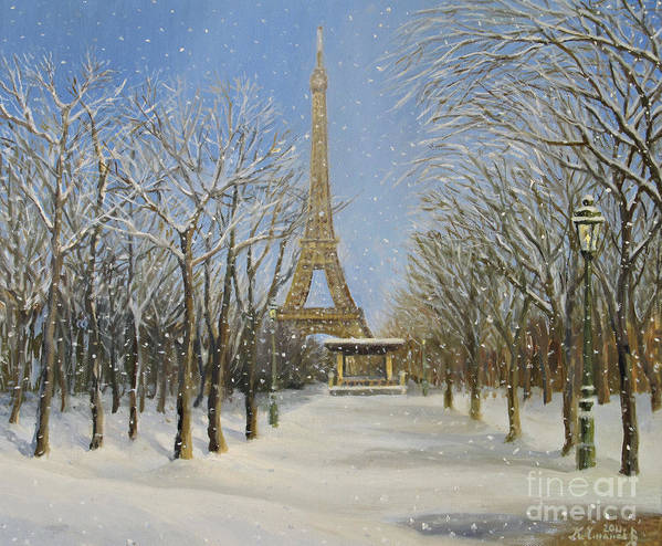 Architecture Poster featuring the painting Winter In Paris by Kiril Stanchev