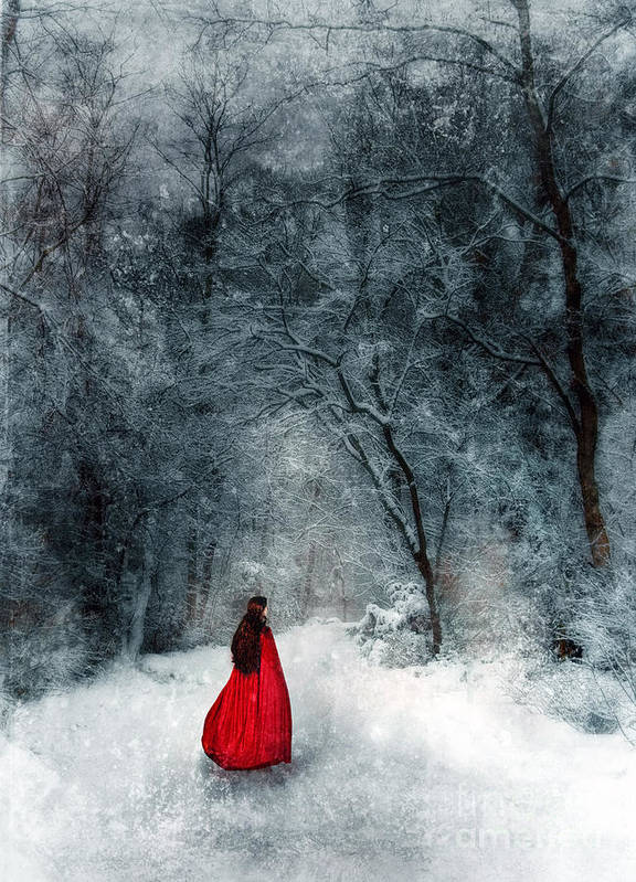 Walking Poster featuring the photograph Woman In Red Cape Walking In Snowy Woods by Jill Battaglia