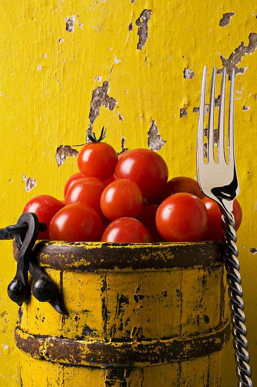 Cherry Poster featuring the photograph Yellow Bucket With Tomatoes by Garry Gay