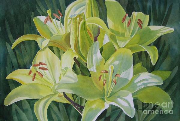 Yellow Poster featuring the painting Yellow Lilies With Buds by Sharon Freeman