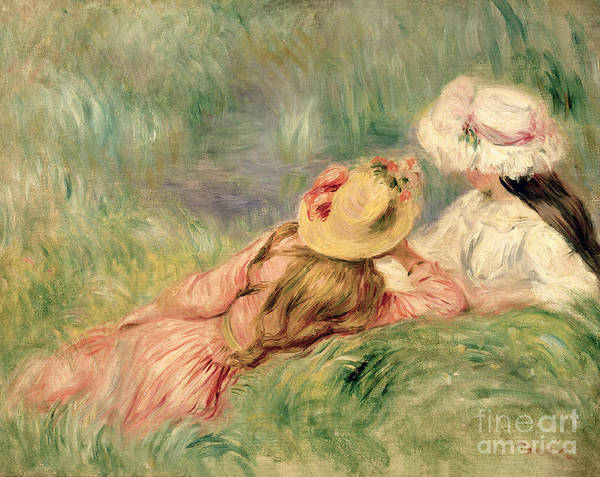 Young Poster featuring the painting Young Girls On The River Bank by Pierre Auguste Renoir