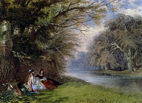 Young Poster featuring the painting Young Ladies By A River by John Edmund Buckley