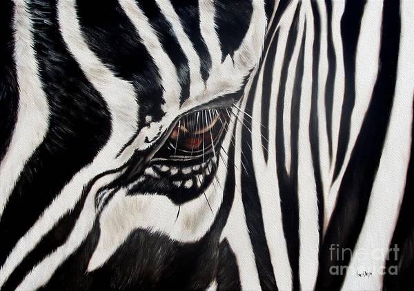 Zebra Poster featuring the painting Zebra Eye by Ilse Kleyn
