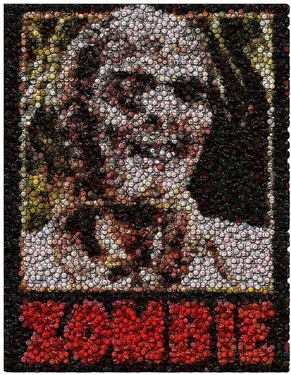 Zombie Poster featuring the digital art Zombie Bottle Cap Mosaic by Paul Van Scott