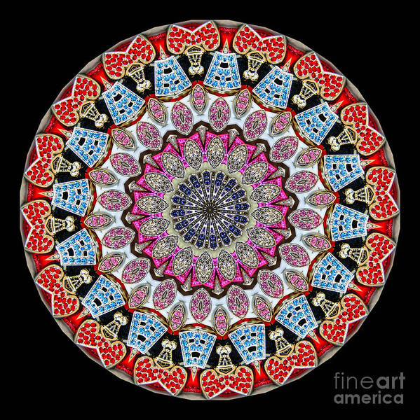 Abstract Print featuring the photograph Kaleidoscope Colorful Jeweled Rhinestones by Amy Cicconi