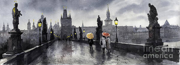 Prague Print featuring the painting Bw Prague Charles Bridge 05 by Yuriy Shevchuk