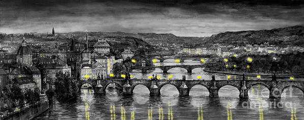 Prague Print featuring the painting Bw Prague Bridges by Yuriy Shevchuk
