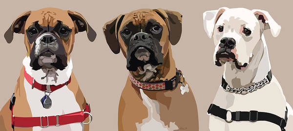 Boxer Print featuring the digital art Three Boxers by Kris Hackleman