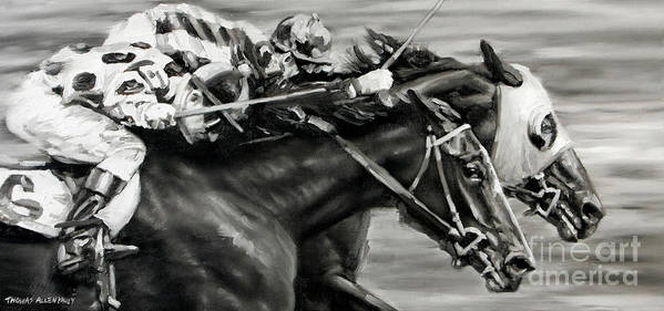 Photo Finish Print featuring the painting Photo Finish by Thomas Allen Pauly