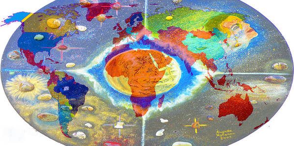 World Map Print featuring the painting World Map And Barack Obama Stars by Augusta Stylianou