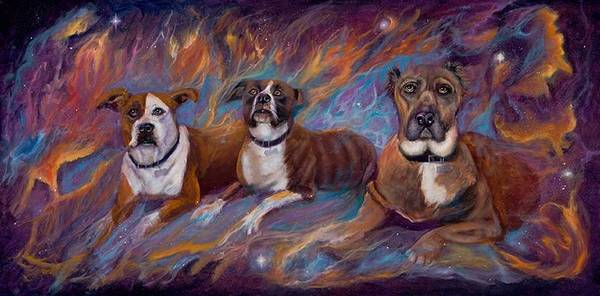 Curvismo Print featuring the painting If Dogs Go To Heaven by Sherry Strong