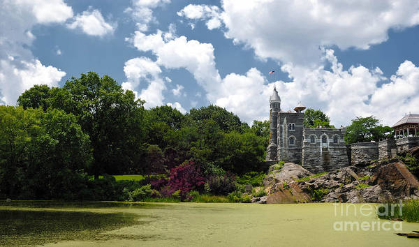 Algae Print featuring the photograph Belvedere Castle Turtle Pond Central Park by Amy Cicconi