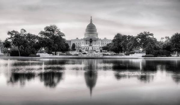 Capital Print featuring the photograph The Republic Awakens Bw by JC Findley
