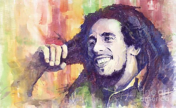 Watercolour Print featuring the painting Bob Marley 02 by Yuriy Shevchuk